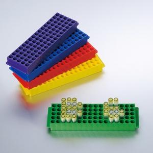 Giá cho tuýp 1.5ml hoặc 2ml, 80 vị trí, Hộp 5 cái, màu: blue, green, red, yellow and purple.